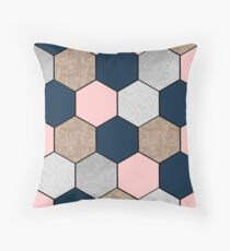 Navy and peach geometric hexagons Throw Pillow