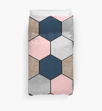 Navy and peach geometric hexagons Duvet Cover