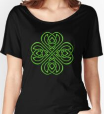 Irish Shamrock Green Celtic Knotwork on Black Women's Relaxed Fit T-Shirt