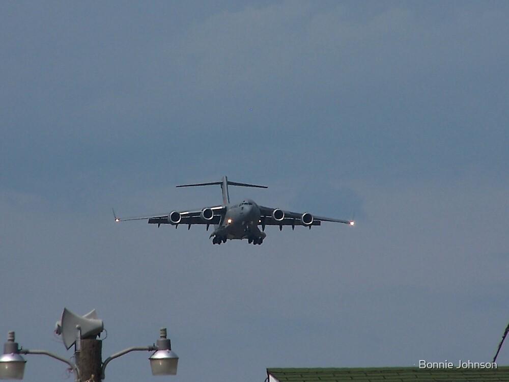 Air Force Plane Landing by Bonnie Johnson