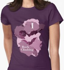 I Heart Rock Climbing Graphic Tee in Purple Womens Fitted T-Shirt