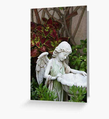 Filled with Gods Gift of fresh rain; Wat Garden, La Mirada, CA USA Greeting Card