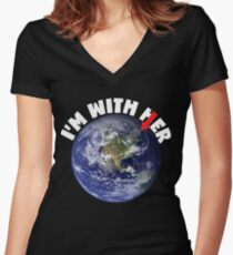 I'm With Her Mother Earth March For Science Shirts Political Shirt Women's Fitted V-Neck T-Shirt