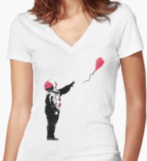 Balloon Clown Women's Fitted V-Neck T-Shirt