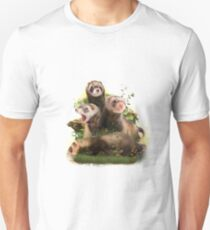 Four Ferrets in Their Wild Habitat                                          Unisex T-Shirt