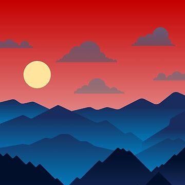 Mountainous Sunset by mimarumble