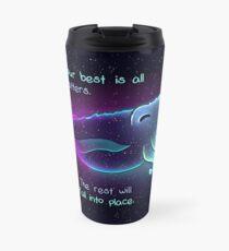 """Taza de viaje """"Prueba de lo mejor es todo lo que importa"""" Galaxia sepia"""