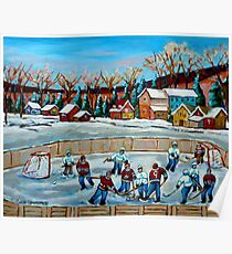 PAINTINGS OF CANADA COUNTRY HOCKEY GAME WINTER SCENE LANDSCAPES CAROLE SPANDAU Poster