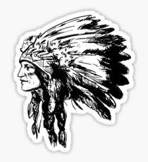 American Native Head Illustration Sticker
