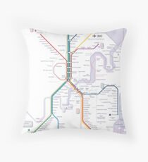 Brisbane and Gold Coast Train, Tram and Ferry map Throw Pillow