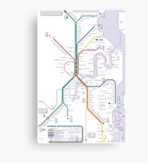 Brisbane and Gold Coast Train, Tram and Ferry map Canvas Print