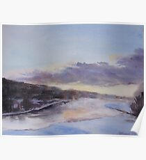 Icy River Dawn Poster