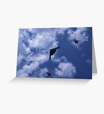 Stealth bomber with fighter escort Greeting Card