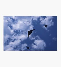 Stealth bomber with fighter escort Photographic Print