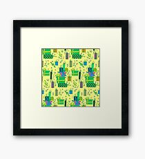 Happy Birthday Seamless Pattern with Presents for Children Party. Illustration Framed Print