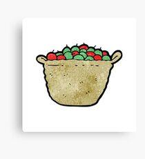 cartoon basket of apples Canvas Print