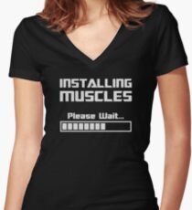 Installing Muscles Please Wait Loading Bar Women's Fitted V-Neck T-Shirt