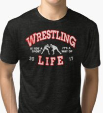 College Wrestling Tees Vintage Funny t shirt Designs Long Short Sleeve Hoodies Gift Tri-blend T-Shirt