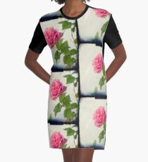 A single pink rose Graphic T-Shirt Dress