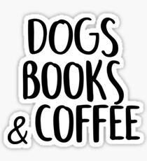 Dogs, book and coffee Sticker