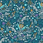 Flower circle pattern, blue by camcreativedk
