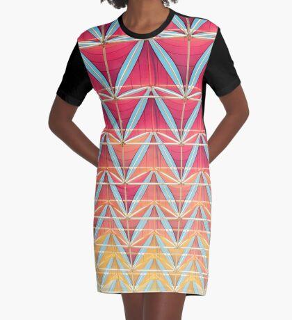 Vom rosa zum gelben Muster T-Shirt Kleid