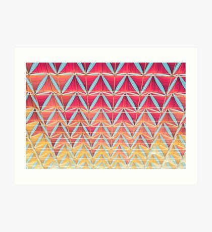 Vom rosa zum gelben Muster Kunstdruck