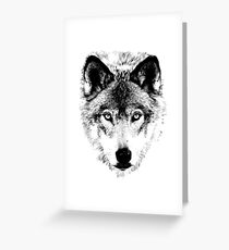 Wolf Face. Digital Wildlife Image. Greeting Card