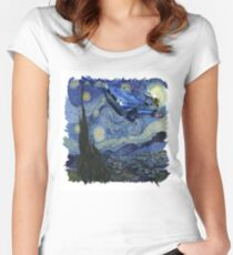 Starry Night Delorean Women's Fitted Scoop T-Shirt
