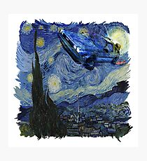 Starry Night Delorean Photographic Print