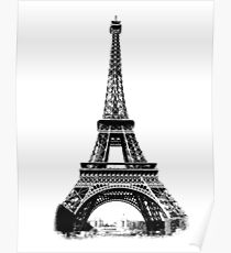 Eiffel tower drawing posters redbubble eiffel tower digital engraving poster thecheapjerseys Gallery