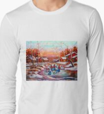 ARTISTS OF CANADA PAINT CANADIAN POND HOCKEY SCENES CAROLE SPANDAU Long Sleeve T-Shirt