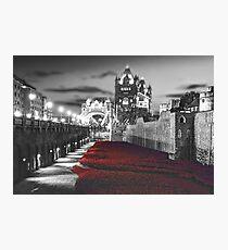 Tower Bridge and the Ceramic Poppies BW Photographic Print