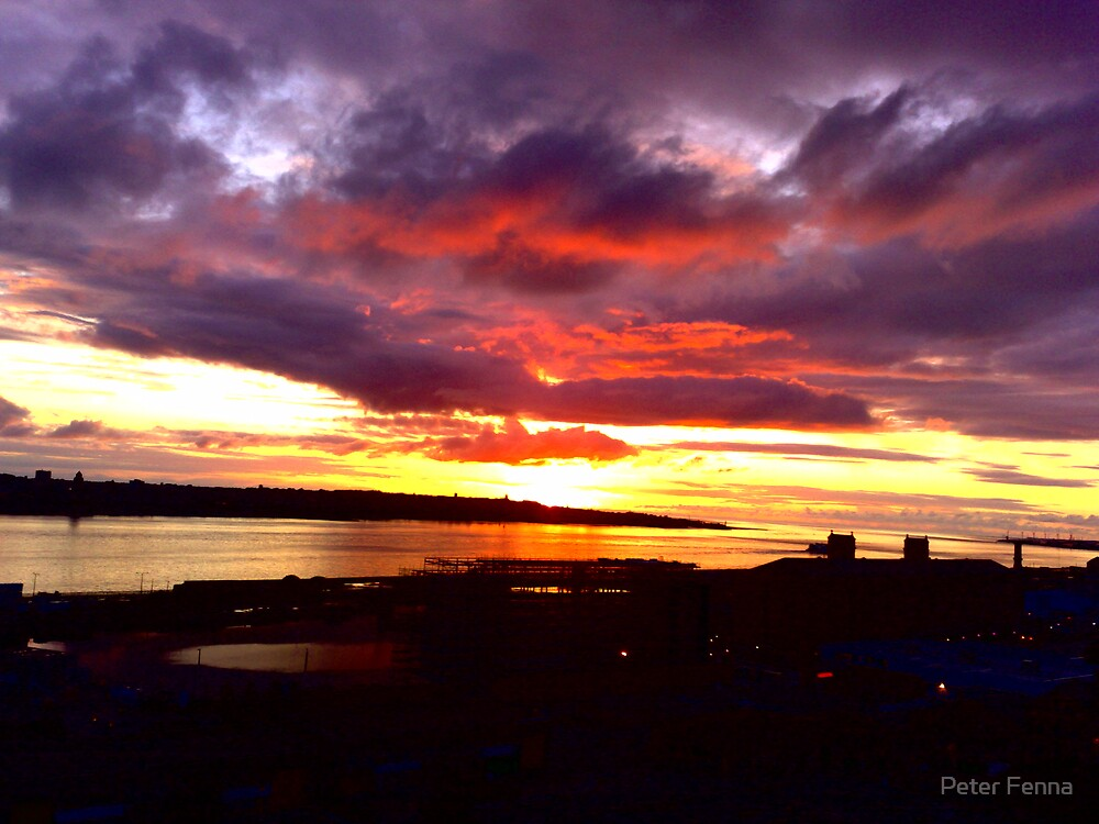 Sunset over the River Mersey. by Peter Fenna