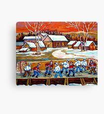 FAMOUS CANADIAN PAINTINGS FOR SALE PONDD HOCKEY IN THE COUNTRY CAROLE SPANDAU Canvas Print