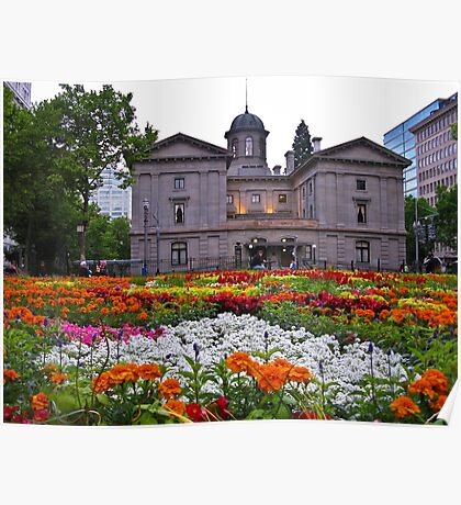 pioneer courthouse in bloom Poster