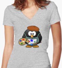 Painter Penguin Women's Fitted V-Neck T-Shirt