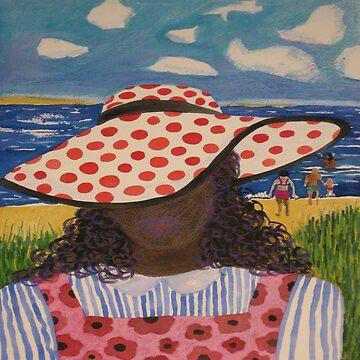 Girl in Red & White Hat on Beach by LindaElksnin