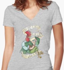 Alan-A-Dale Rooster - OO-De-Lally Golly What A Day Watercolor Painting Women's Fitted V-Neck T-Shirt