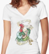 Alan-A-Dale Rooster : OO-De-Lally Golly What A Day Tattoo Watercolor Painting Women's Fitted V-Neck T-Shirt