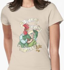 Alan-A-Dale Rooster - OO-De-Lally Golly What A Day Watercolor Painting Womens Fitted T-Shirt
