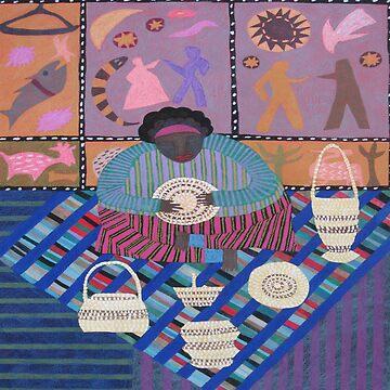 Basket Weaver with Biblical Quilt by LindaElksnin