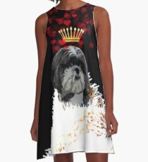 Royal Love Pup, Shi Tzu, crown of hearts A-Line Dress