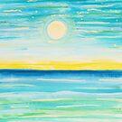 Watercolor Moonlight Seascape Night Sky by Express Yourself Artshop