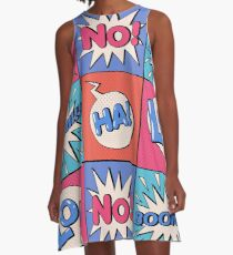 Comic Bubble in Pop Art Style with Expressions Boom A-Line Dress