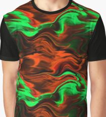 Orange and Green Northern Lights Graphic T-Shirt