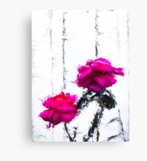 red roses with white wood background Canvas Print