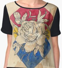 Rose Neo Traditional Tattoo Design  Watercolor Painting - Inked Line Art Chiffon Top