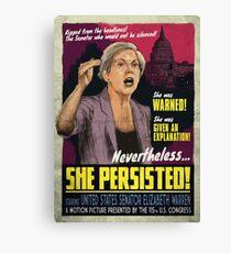 She Persisted - Elizabeth Warren Vintage Movie Poster Canvas Print
