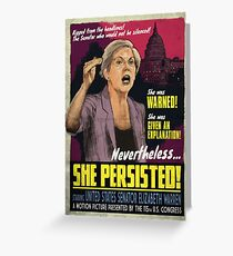 She Persisted - Elizabeth Warren Vintage Movie Poster Greeting Card